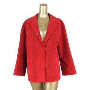 70s Mod Red Faux Suede Collared Button Down Blazer